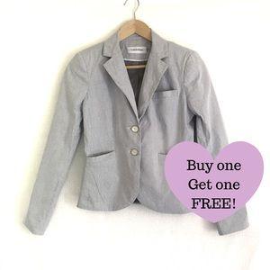 CALVIN KLEIN Grey Pinstripe Blazer Jacket